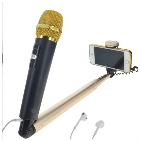selfiemic microfono selfie stick android y iphone karaoke microphone. Black Bedroom Furniture Sets. Home Design Ideas