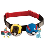 Cinturón Pokemon con 2 bolas Pokemon y con sus correspondientes monstruos pokemon en su interior, Pokeballs belt